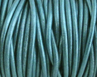 2mm Round Metallic Leather Cord Teal Blue - Green Dark Turquoise Shimmery Leather for jewelry making necklaces and bracelets (3 or 5 YARDS)