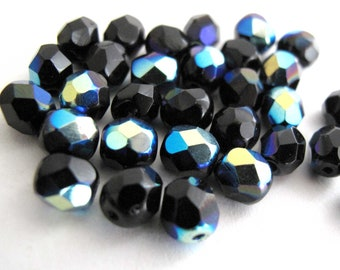 Jet Black A/B 4mm 6mm 8mm Czech Glass Beads - Fire Polished Aurora Borealis Round Glass Faceted Beads, Loose Beads 50 - 100 - 600 pieces