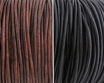 2mm Round Leather Cord Black or Brown for jewelry making (3 or 5 YARDS) - great for necklaces and bracelets