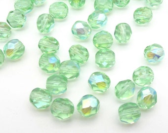 Green Mint A/B 6mm Czech Glass Beads - Fire Polished Aurora Borealis Round Light Green Faceted Beads, Loose Beads 50 - 100 - 300 pieces