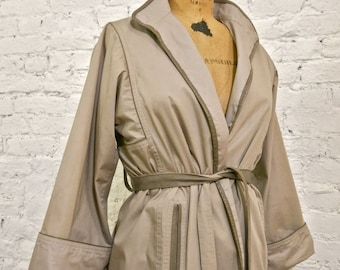 70s Spectacular French Raincoat with Leather Trim by Jean Pecarel Paris