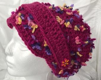Crocheted Slouchy Hat Wine Boho Style