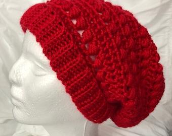 Slouchy Hat Crocheted Red Acrylic Yarn