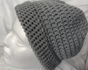 Crocheted Gray Slouchy Hat Winter Hat