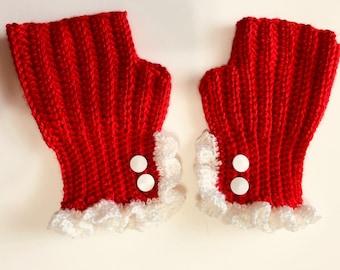 Crocheted Fingerless Mittens Ruffled Edge White Buttons