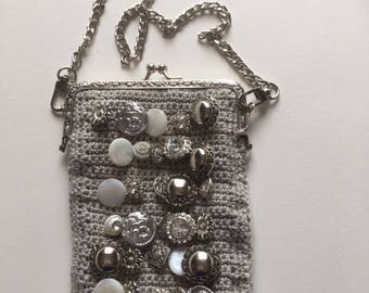 Crocheted Purse with Antique Buttons