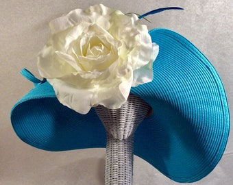 Teal Blue Kentucky Derby Hat Large Brim