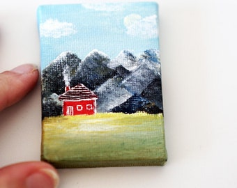 Small paintings on canvas, Tiny painting on canvas house, Original mini art country home