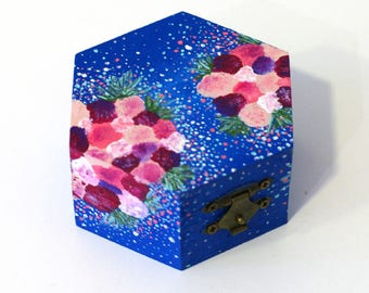 Wood jewelry box wood hand painted box Wooden keepsake box Small jewelry box wooden box trinket box Keepsake box jewelry storage