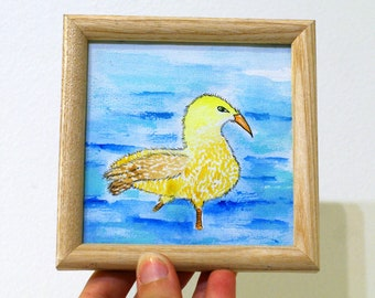 Original small framed watercolor painting Original art framed art miniature painting Small art original artwork miniature watercolor