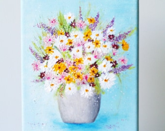 Floral canvas acrylic painting, Flowers paintings on canvas, Wall art country floral decor