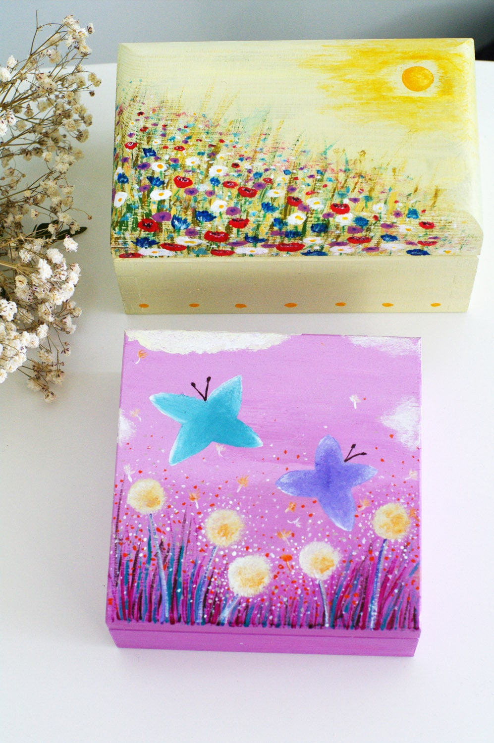 Hand Painted Decorative Wooden Box Mom Jewelry Box Wood Etsy