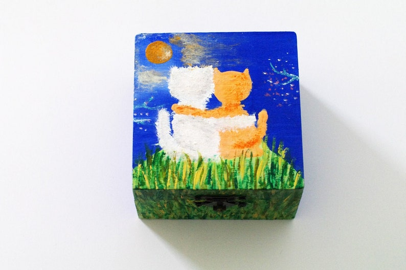 Cat Artwork Box Love Gifts Family Gift Ideas Wedding Anniversary Gift For Her Wedding Art Gift Hand Painted Wooden Box With Pets