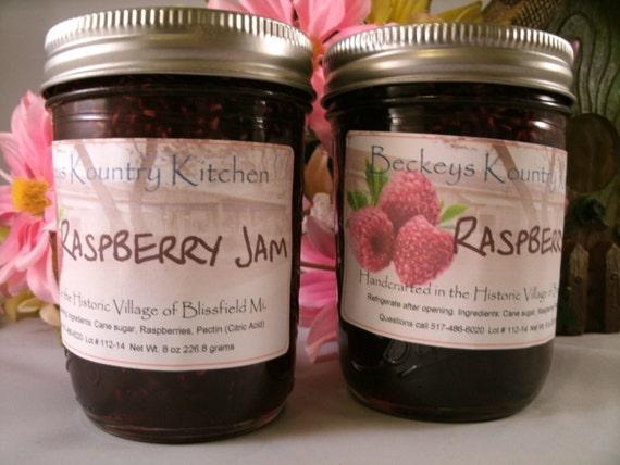 Zwei gl ser mit himbeer marmelade hausgemacht von beckeys etsy - Marmelade einkochen glaser ...