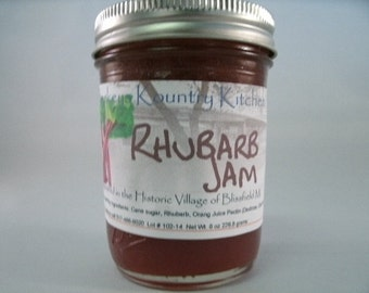 Homemade Rhubarb jam by Beckeys Kountry Kitchen jam jelly preserves fruit spread gourmet jam holiday gift gift for Mom party gift