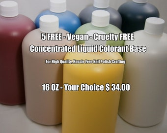 Color Base Concentrate - FDA Certified FD&C Color Additives - Highly Pigmented - Stain Free Nail Polish Colorant -16oz or 32oz -Your Choice
