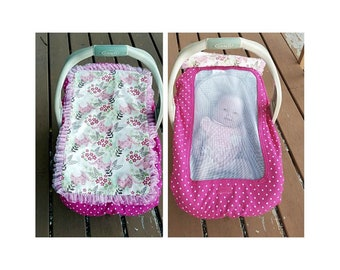 Cotton Elephant Infant Carrier Cover With Soft Mesh Protecter Helps Protect Baby From Strangers Touching Germs Bugs