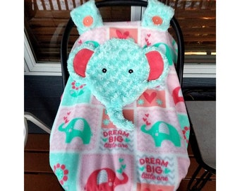 Ready To Be Shipped Fitted Elephant Carseat Canopy With Peek A Boo Opening