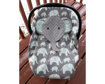 Fitted Elephant Car Seat Cover With Peek A Boo Opening Held Up By Hood Canopy Of The Infant Carseat Not Handles Ready To Be Shipped