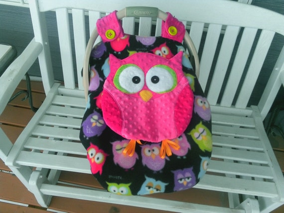 Super Cute Made To Order Girls Fitted Fleece Owl Car Seat