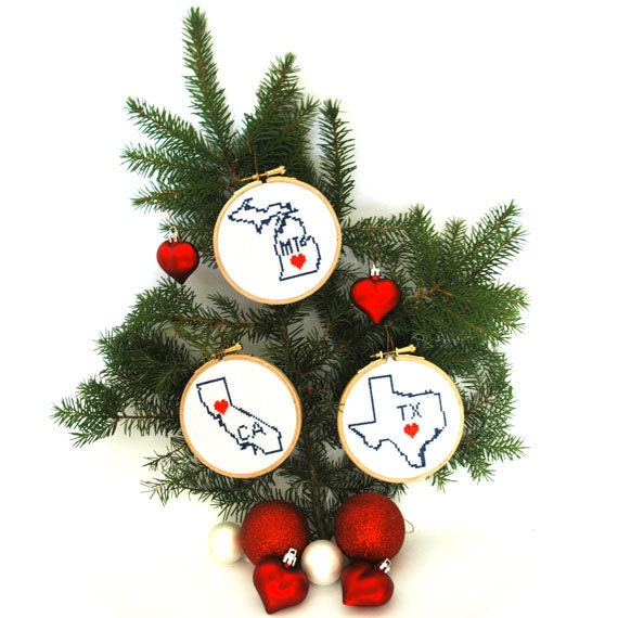 USA State Map Ornaments. DIY Christmas Tree Ornaments