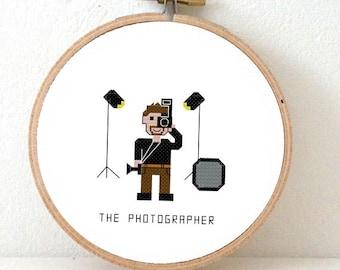 2 x Photographer cross stitch patterns. 2 patterns! DIY gift for photographer. Female photographer. Male fashion photographer. Photo studio