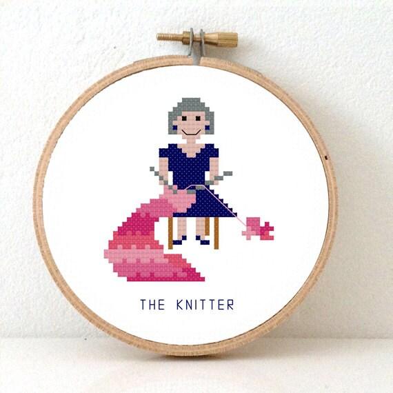 2 X Knitter Cross Stitch Pattern Knitting Grandma And Etsy