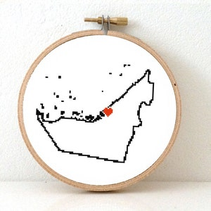 SAUDI ARABIA Map Cross Stitch Pattern Middle East Easy Embroidery pattern to make Saudi Arabia poster with Riyadh