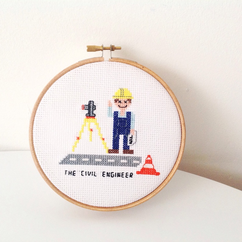 75c993dd87a 2 x DIY GIFT for Civil Engineer. Professions cross stitch