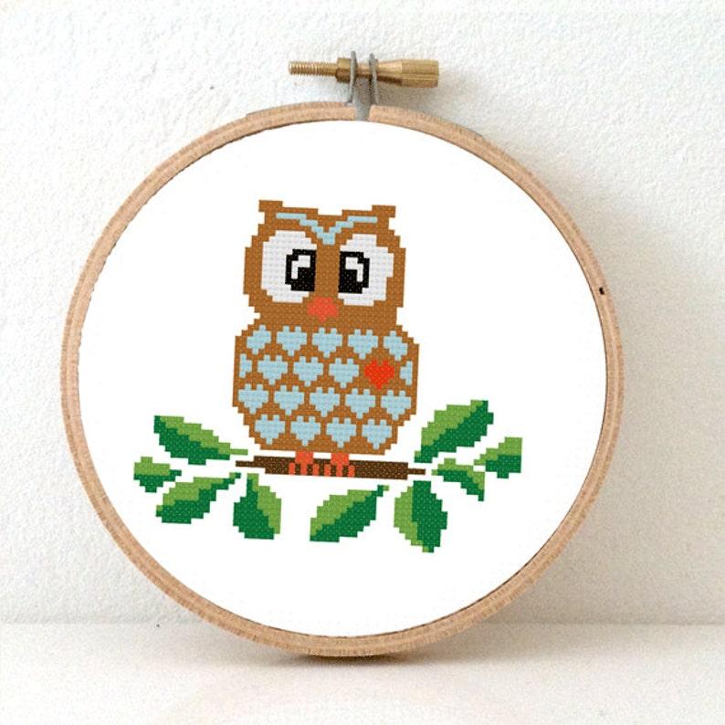 OWL pattern. Owl Cross Stitch pattern nature decor. Wise owl image 0