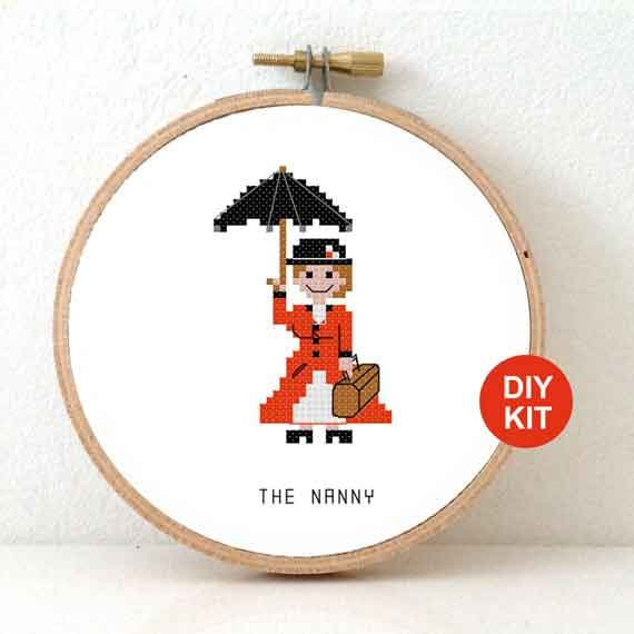 Nanny Cross stitch kit. Gift for babysitter. DIY au-pair ...