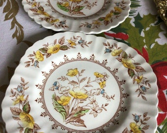Rare Vintage English Brambleberry Embossed Square Salad Plate-YellowOrangeRedBlack Floral-Yellow Trim
