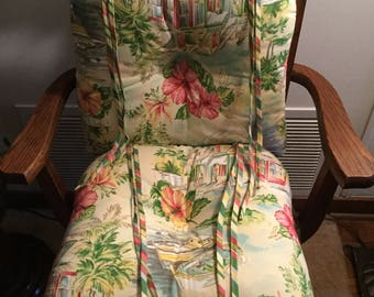 Waverly Home Classics Vintage Chair Cushions/Seat Pads Beach /Floral Scene  With Ties Indoor/Outdoor