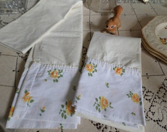 Two Vintage White with Pale Yellow and Bright Yellow Roses Standard Pillow Cases