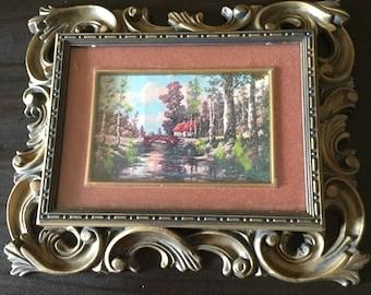 Vintage Norleans Hard Plastic Framed Woods/Cottage Scene Ornate Picture Frame/Wall Hanging