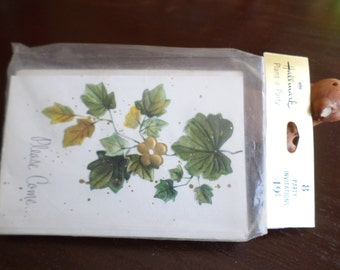 Vintage Hallmark Plan a Party Invitations-Sealed Package of 8-Green and Gold Ivy on White