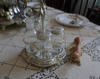 Vintage Victorian Silverplate/Metal Condiment Holder/Castor with Ornate Handle-Glass Cruets