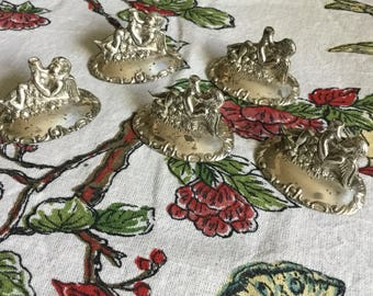 Custom Made in Japan for Delli Inc. California Set of 5 Silverplate  Cherub Place Card Holders