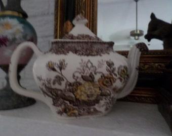 Vintage Mason's Ascot-Brown/Yellow Transferware Teapot & Lid