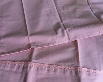 Vintage Cotton Standard Pillow Case/Bedding-Bubble Gum Pink Solid