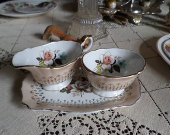 Gorgeous Vintage Old Kent England Creamer & Sugar with Tray-Lovely Floral Design with Gold