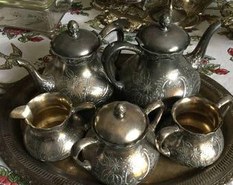 Pairpoint Bedford Massachusetts Company Metal/Silverplate Tea Set