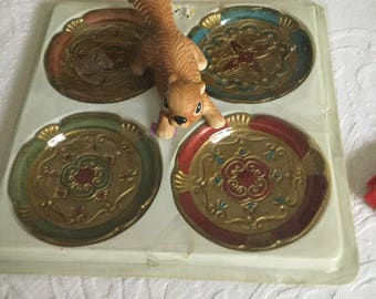 Four Italian Italy Florentine Wood Paper Mache Colorful Coasters