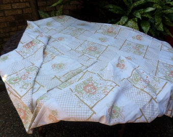 Vintage Cannon Monticello-Cotton Flat Bed Sheet/Bedding-Orange/Cocoa Brown Floral-Full