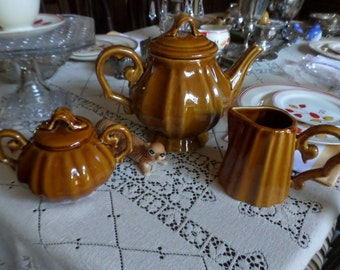Gorgeous Vintage Baum Brothers Butterscotch Stoneware Tea Set-Coffee Pot/Creamer Pitcher/Sugar Bowl/Dish-Fall/Pumpkin