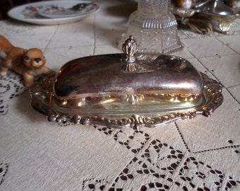 Vintage Ornate Silverplate Butter Dish and Lid with Glass Insert-Finial/Serving/Table