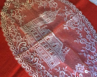 Beautiful White French Lace Doily-Cathedral/Church/Building/Clock Tower
