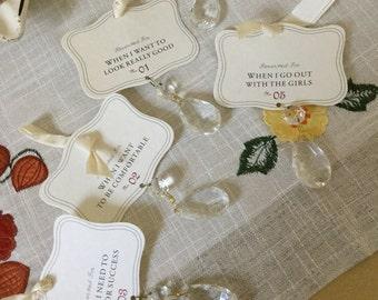 Vintage Lollia Crystal Drop Light Pendants/Table Decor or Craft Idea-Success/Comfort/Look Good/Girls/Weekend Cards