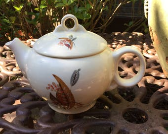 Universal Potteries Ballerina Tea/Coffee Pot-Ivory with Multi Colored Leaf Design