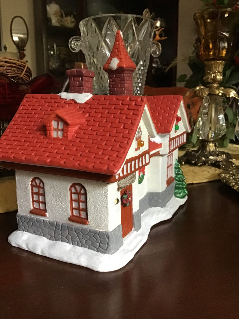 Ceramic Hand Painted/Decorated Christmas Village House-Red ...